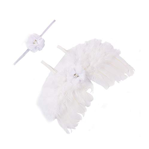 moinkerin Photography Prop Baby Photo Outfits Costume Angel Wing with Headband White for Newborn Girl and boy Fancy Dress