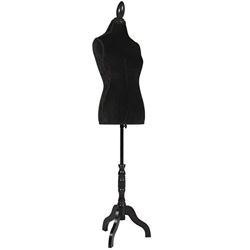 Form Black Dress - Best Choice Products Female Mannequin Torso Display w/Wooden Tripod Stand, Adjustable Height - Black
