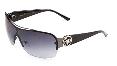 Kleo Lion Head Medallion One Piece Shield Sunglasses (Black & Gunmetal, - Head Sunglasses Medusa