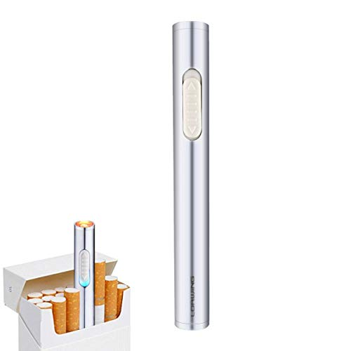 LORWING Mini Electric Lighter USB Rechargeable Windproof Flameless Safety Lighter Portable for Cigarettes with Gift Box (Silver)