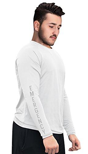 underscrubZ Mens Dri-Fit Long-Sleeve Medical Scrub Undershirt (Emergency) (White, Large)
