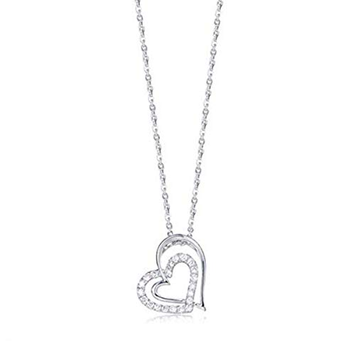 (FANCIME 925 Sterling Silver Open Heart Cubic Zirconia CZ Dainty Forever Love Pendant Necklace for Women Girls, 16