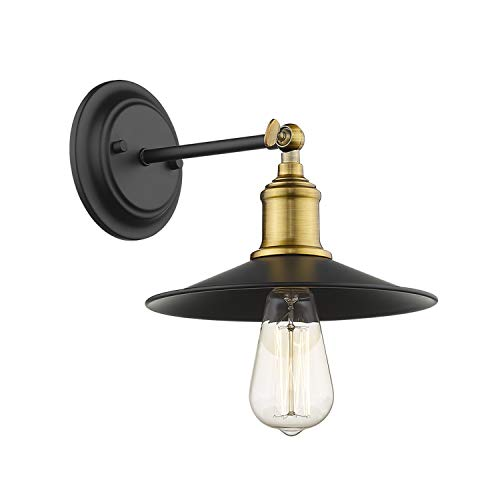 Jazava Industrial Wall Sconces, Semi Flush Mount Ceiling Light Fixture for Farmhouse, Adjustable Swing Arms, Brass Accent and Black Metal Shade Finish