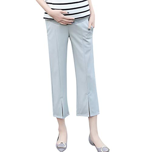 RIUDA Women's Maternity Pants Work Office Wear Casual Straight Leg Skinny Trousers Over The Belly Legging Gray