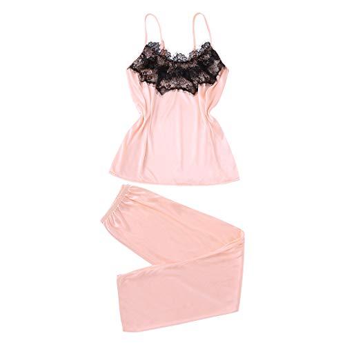 POQOQ Sleepwear Lingerie Women 2Pcs Sexy Satin Silk Babydoll Pyjamas Suit S Pink ()
