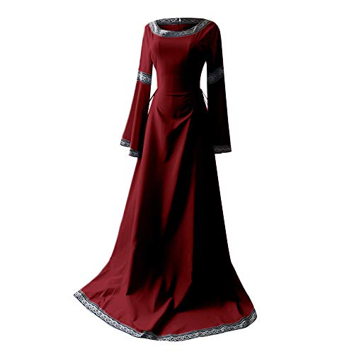 Donna Medievale Maniche Vintage Rosso Abiti Irregolari vestiti Rinascimentali Elecenty Lunghe BeCxord