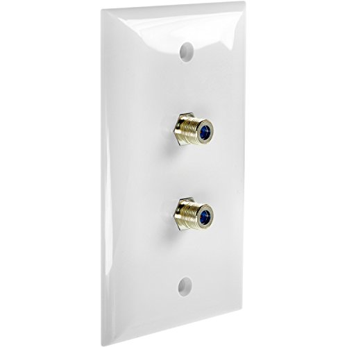 Coax Wall Plate - Mediabridge Wall Plate with F81 Jack (2-Port) - White