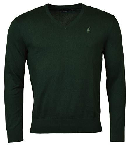 Polo Ralph Lauren Men's Pima Cotton V Neck Long Sleeve Sweater (Scollo a V Verde, X-Large)