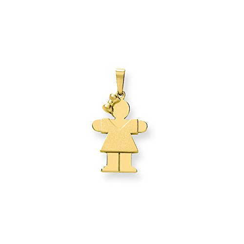 14k Solid Engravable Girl With Bow On Left Charm by Shop4Silver