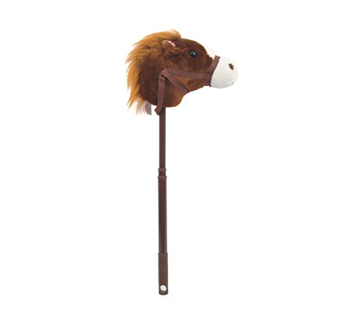 Linzy Plush Adjustable Horse Stick with Sound, Dark Brown, 36