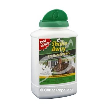 Shake-Aways All Natural Small Critter Repellent for Rabbits, Gopher, Groundhogs, Possum, Porcupines, Woodchucks other small animals (Fox Urine Granules) 28.5 oz size - New EZPour Bottle & Cap