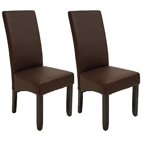Pack de 2 sillas Osaka Color wengué de salón Comedor de Polipiel marrón y  Acolchadas Modelo, Modernas, económicas. Altura 108cm / Asiento 49x49cm