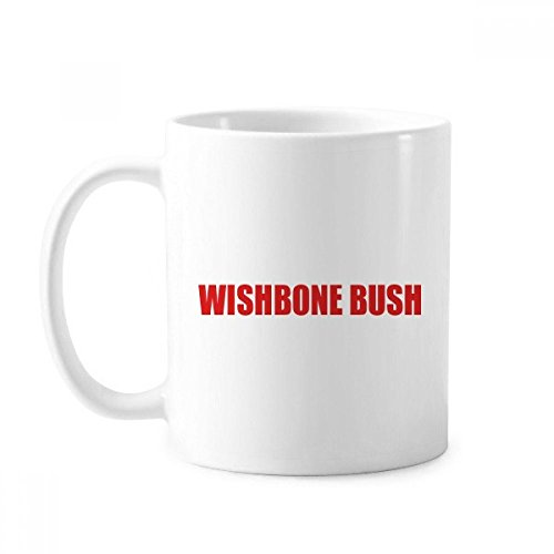 Wishbone Bush Flower Red Plant Mug White Pottery Classic Ceramic Cup Handle (Wishbone Bushes)
