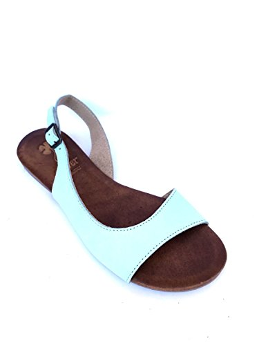 ZETA SHOES - Sandalias de vestir de Piel para mujer azul turquesa