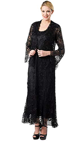 (SOULMATES C1068 Beaded Silk Lace Collar Jacket with Godet Dress Set in Black)