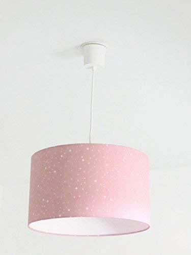 Lustre suspension plafonnier abat-jour rose étoiles Luminaire diamètre personnalisé cylindre rond idée cadeau anniversaire décoration chambre fille princesse naissance