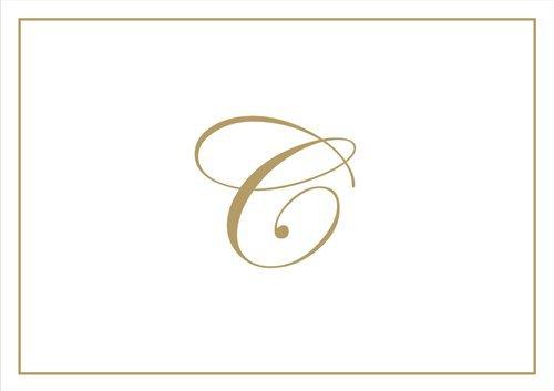 Caspari Boxed Notes Embossed C Initial Blank Notecards, Pack of 8, Gold Caspari Ltd 83632.C