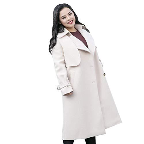 Casual E Oudan Cammello Autunno Taglia colore Dimensione Size Plus Sciolto Panna Trench Bianca Lana Unica Donna Inverno In Soprabito Color q0SXq