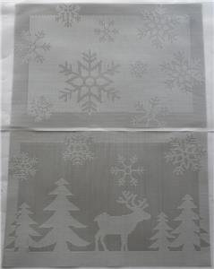 NEW Set of 2 Vinyl CHRISTMAS Placemats SILVER WINTER SCENE & SNOWFLAKES -