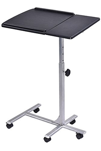 Rolling Laptop Notebook Desktop Lap Desk Tilting Tabletop Stand Over Sofa Bed Table Overbed Food Hospital Bed Tray Cart Lockable Wheels Adjustable Angle And Height