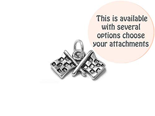Checkered Flags Charm Sterling Silver 12mm, Silver Flag Charms, Sterling Silver Charms, Race Car Charms, Checkered Flags Charms - SP496 (Spring Ring Clasp) - (2 Pieces)]()