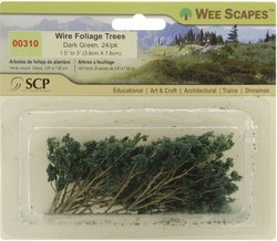 Wee Scapes Architectural Model Trees Wire Foliage Trees (dark green) 1 1/2 in. - 3 in. pack of 24