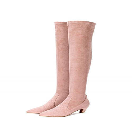 jinfu Knee High Boots,Womens Round Toe Thigh High Stretch Suede Block Heel Shoes (US 5)