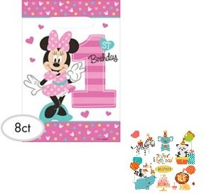 1st Birthday Minnie Mouse Party Supplies Favor Loot Bags 8 count Minnie Fun to be - First Birthday Bags Loot