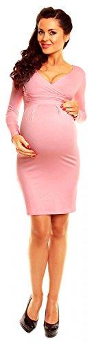 Zeta Ville Mujeres Maternidad Casual Lactancia Materna Jersey Lápiz Vestido 285c Polvo de Color Rosa