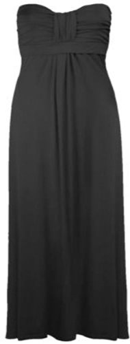 Womens Plus Size tetta Knot Maxi strap less Summer Beach Maxi Stretch (Black, UK 16-18/EU 44-46)