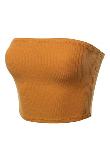 Made by Emma Solid Bra Ribbed Tube Top Mustard S