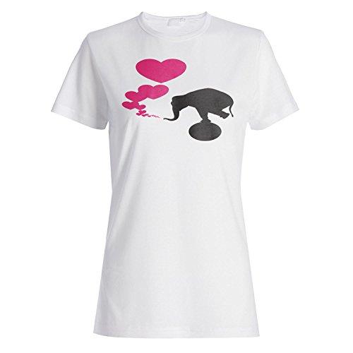 Ich liebe dich Elefantherz-Neuheit lustige Weinlesekunst Damen T-shirt a177f