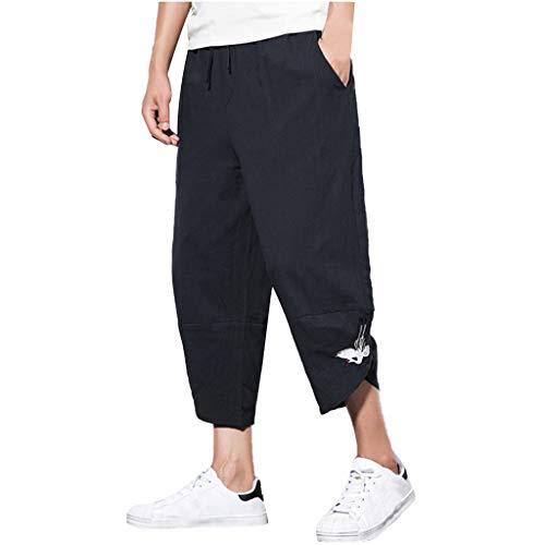 - ZEFOTIM Pants for Men Summer Fashion Leisure Cotton and Linen Embroidery Loose Calf-Length Pants(Black,Large)