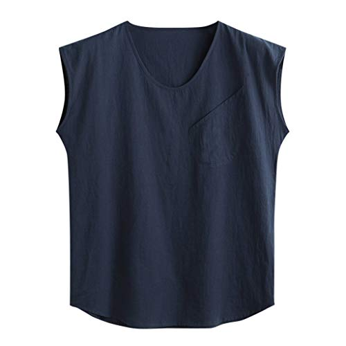 Canserin Mens Sleeveless Shirt Beach Tank Tops Hippie Cotton Summer Casual V Neck Blouse with Pocket (Navy,XXXL)