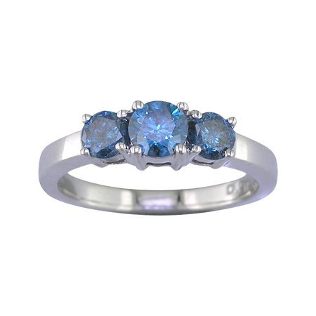 1 CT 3 Stone Blue Diamond Ring 14K White Gold In Size 7 (Available In Sizes 5 – 10)