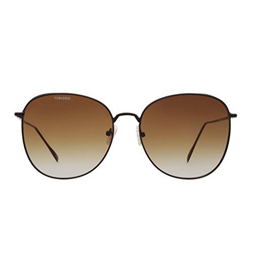 PERVERSE sunglasses Joy 70's Retro Sunglasses (Black Matte, Brown/Gray - Sale Eyewear Quay