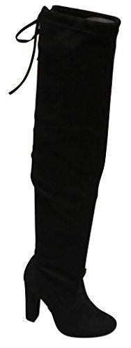 Moda Suede Heels (Top Moda Keen-1 women's almond toe chunky heel tie up side zip suede knee high boots Black 7)