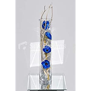 Silk Blooms Ltd Artificial Blue Fresh Touch Anemone and White Mitsumata Flower Display w/Glass Cylinder Vase 20