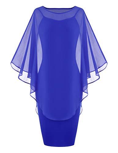 - ANGGREK Ladies Slim Knee Length Cape Sleeve Chiffon Overlay Batwing Cape Dress Blue L