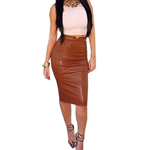 Women Leather High Waist Skirt Slim Party Pencil Skirt Brown