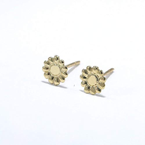 14K Gold Flower Stud Earrings, 14K Solid Yellow Gold Tiny Flowers Studs, Handmade Dainty Jewelry, Pushback Closure Earrings, Simple Delicate Minimalist Birthday Gift for Girls and Young Women