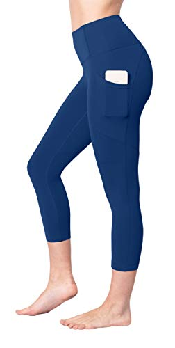 Yogalicious 22' High Waist Yoga Capris - Yoga Leggings - Yoga Capris for Women - Mayan Blue with Pocket - Large