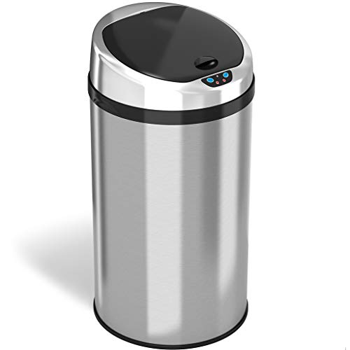 (iTouchless 8 Gallon Touchless Sensor Kitchen Trash Can with Odor Control System, Stainless Steel, Round Garbage Bin for Home or Office)