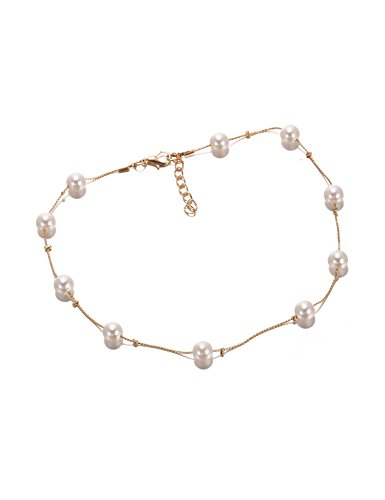 Meflying Women Casual Hollow Geometric Artificial Pearl Chain One Layer Clavicle Necklace