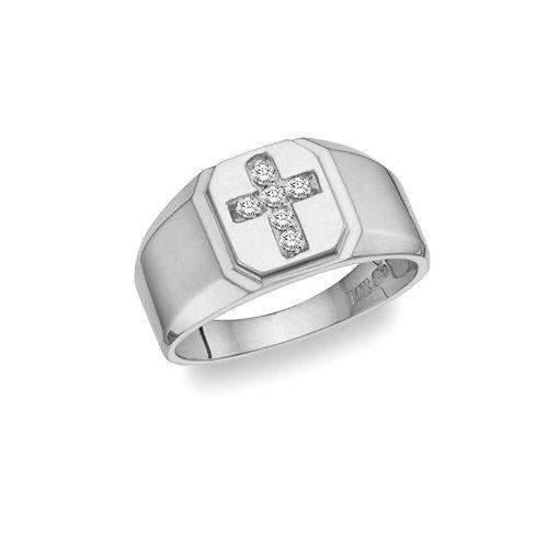 Apples of Gold Men's White Topaz Gemstone Cross Ring in S...
