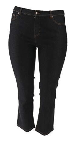 Liz Claiborne NY Jackie Slim Leg Jeans Scoop Pockets Black Rinse 14P # -