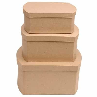 Factory Direct Craft Handcrafted Paper Mache Rounded End Rectangle Boxes - 3 Boxes
