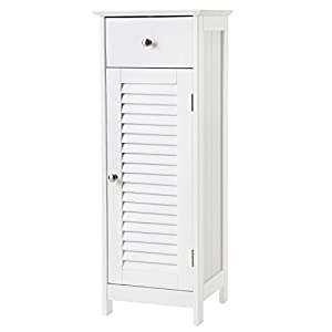 VASAGLE Bathroom Floor Cabinet Storage Organizer Set with Drawer and Single Shutter Door Wooden White UBBC43WT