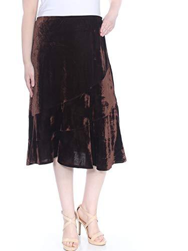Velvet Tiered Skirt - NY Collection $24 Womens New 1218 Brown Velvet Tiered Midi Skirt XL B+B