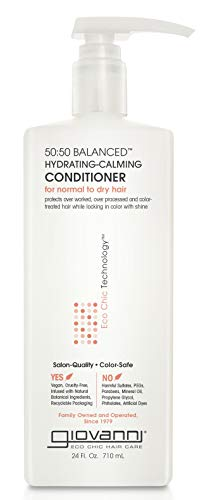 Giovanni Hair Eco Chic 50:50 Balanced Hydrating Calming Conditioner, 24 oz, for Daily Use, pH Balanced for Normal to Dry Hair, Sulfate Free, Color Safe, Cruelty Free